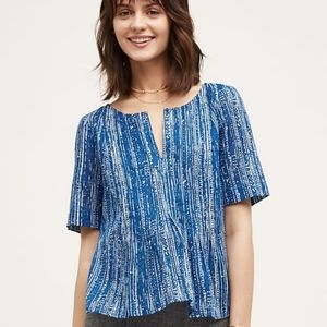 Maeve Anthropologie Blue Orchid Island Top Sz 12